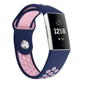 Fitbit Charge 3 siliconen DOT bandje - Roze / Blauw (Small)