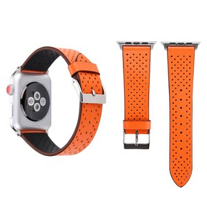 Leren Apple watch bandje 42mm / 44mm - Dot pattern - Oranje