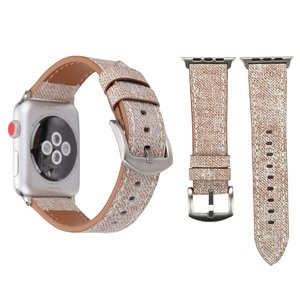 Lederen Apple watch bandje 42mm / 44mm - Denim pattern - Licht bruin