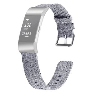 Fitbit Charge 2 Canvas Bandje (Small) - Licht Grijs