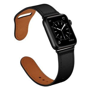Lederen Apple Watch bandje 38mm / 40mm - Zwart