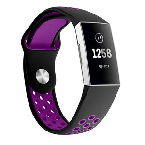 Fitbit Charge 3 & 4 siliconen DOT bandje - Paars / Zwart (Small)