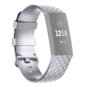 Fitbit Charge 3 & 4 siliconen diamant pattern bandje (Small) - Zilver