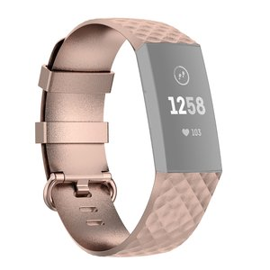 Fitbit Charge 3 & 4 siliconen diamant pattern bandje (Small) - Rosé goud