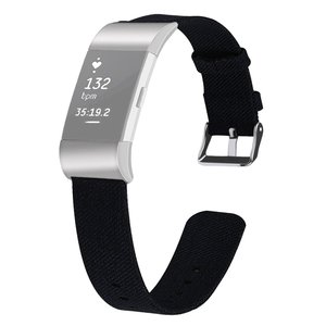 Fitbit Charge 2 Canvas Bandje (Small) - Zwart