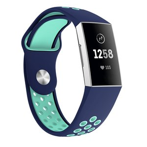 Fitbit Charge 3 & 4 siliconen DOT bandje - Mint / Blauw (Large)