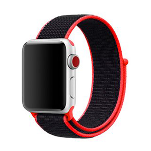 Apple Watch 42mm / 44mm - Sport Loop bandje - Magenta / zwart