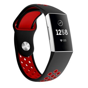 Fitbit Charge 3 & 4 siliconen DOT bandje - Rood / Zwart (Large)