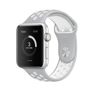 Apple watch sportbandje 42mm / 44mm - Grijs + Wit