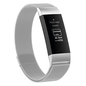 Fitbit Charge 3 & 4 milanese bandje (large) - Zilver