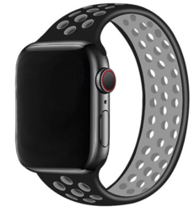 Apple Watch 42/44mm - Maat: M - Solo Loop Sport series - Zwart + Grijs