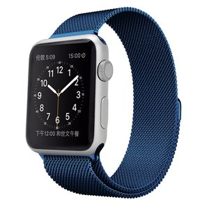 Milanees Apple watch bandje 42mm RVS - Blauw