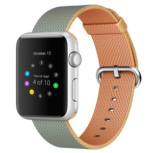 Nylon Apple watch 38mm / 40mm bandje - Licht bruin / Blauw
