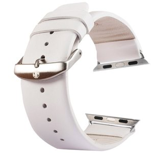 Kakapi Apple watch bandje 42mm / 44mm leer met gesp - Wit