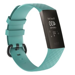 Fitbit Charge 3 siliconen diamant pattern bandje (Large) - Tiffany blauw