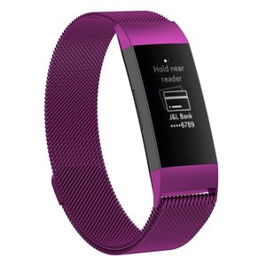 Fitbit Charge 3 milanese bandje (large) - Paars